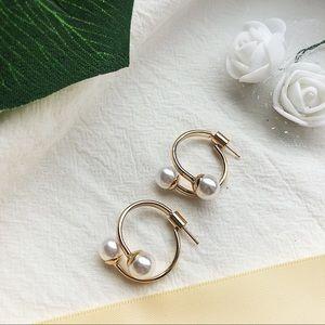 Sterling Silver Faux Pearl Hoop Earrings